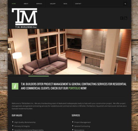 TM Builders Website, Logo & Photography Whistler