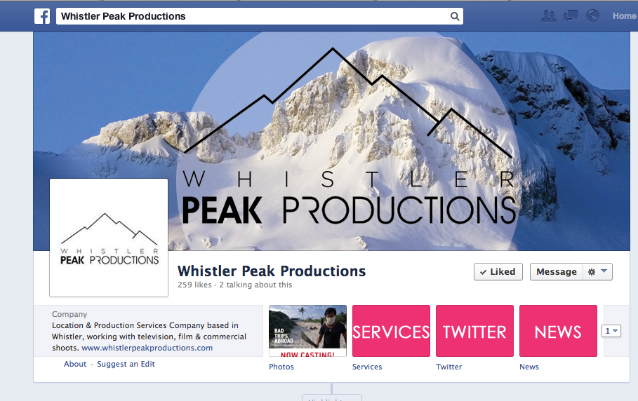 Whistler Peak Productions Facebook graphics