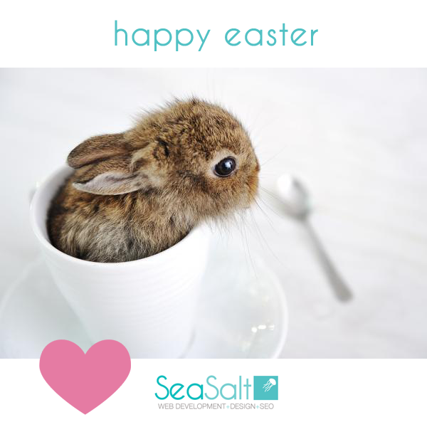 Cute Happy Easter bunny in a cup from Sea Salt Web Development