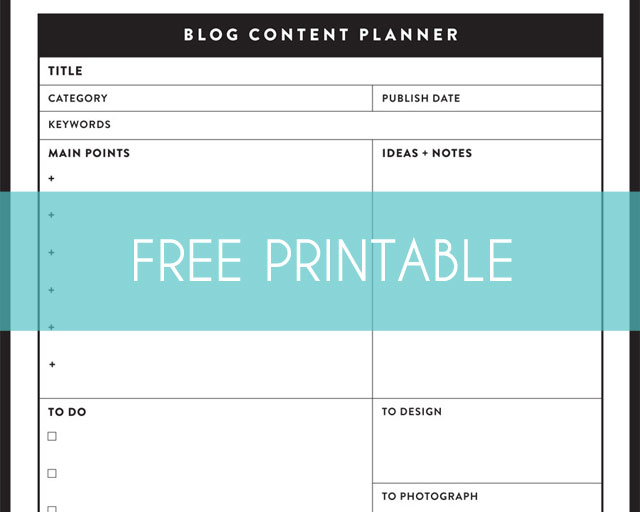 Sea Salt Web free Blog Content Planner printable
