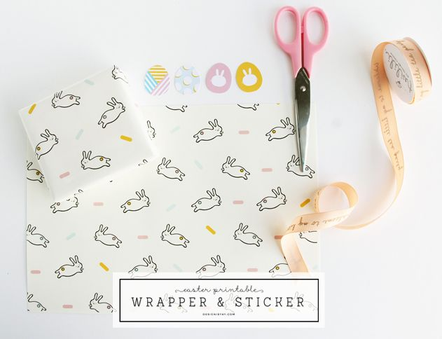 easter bunny wrapping stickers printables