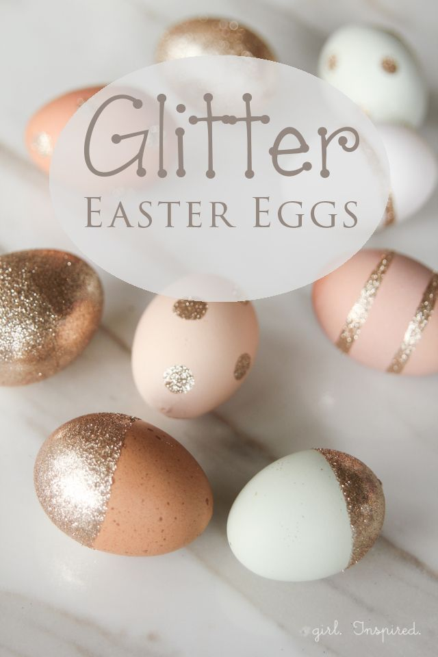 DIY easter gold glitter eggs