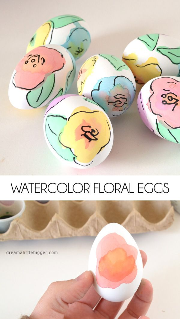 Water colour floral easter eggs