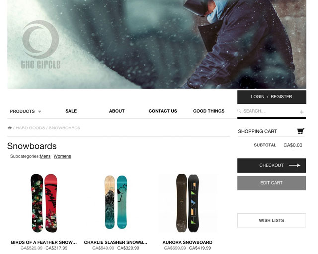 The Circle Whistler e-commerce online store by Sea Salt Web Design Whistler