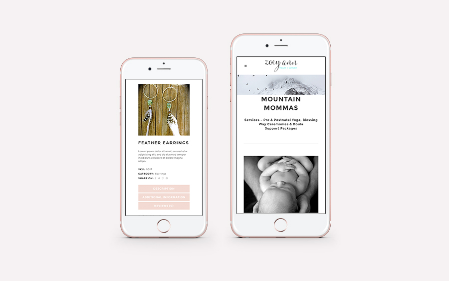 Website design by Sea Salt Web Whistler for Zoey Ann iphone